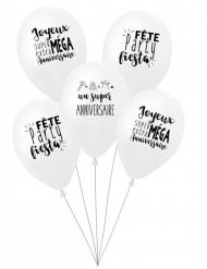 5 palloncini in lattice biodegradabile per il compleanno