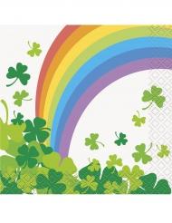 16 Tovaglioli piccoli in carta con arcobaleno San Patrizio