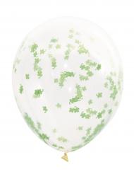 5 palloncini trasparenti con coriandoli a trifoglio verde