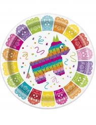 8 Piatti festa messicana in cartone 23 cm