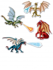 7 decorazioni in cartone draghi