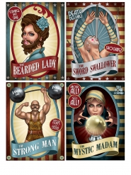 kit 4  manifesti circo vintage