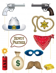 Kit Photobooth tema western 12 pezzi
