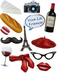 Kit Photobooth tema Francia 13 pezzi