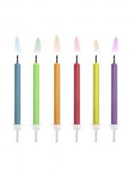 6 Candele di compleanno fiamma colorata