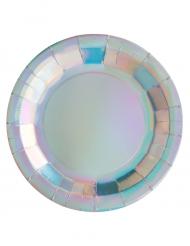 10 piatti in cartone iridescente 23 cm
