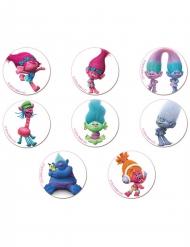 18 Mini dischi in zucchero dei Trolls™ 3.4 cm