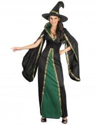 Costume da strega nera e verde per donna