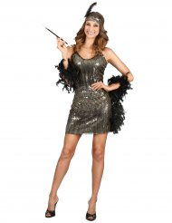 Costume charleston con paillettes dorate per donna