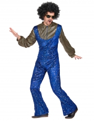 Costume disco blu e dorato per uomo