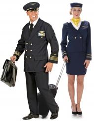 Costume coppia pilota e hostess per adulto