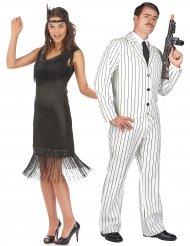 Costume di coppia gangster e charleston in nero per adulti
