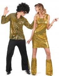 Costume coppia disco dorata per adulti