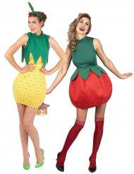 Costume coppia di frutta fragola e ananas per donna