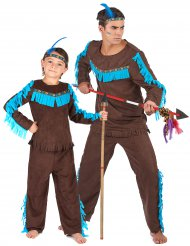 Costume coppia indiani marroi padre e figlio