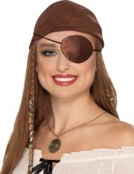 Copriocchio marrone da pirata per adulto
