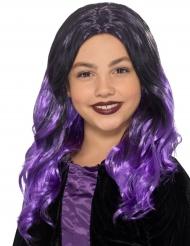 Parrucca lunga nera e viola per bambina