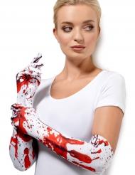 Guanti lunghi con tracce di sangue per adulto