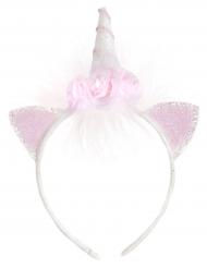 Cerchietto da unicorno con fiori bianchi e rosa bambina