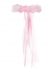 Corona da principessa con fiori rosa chiaro per bambina
