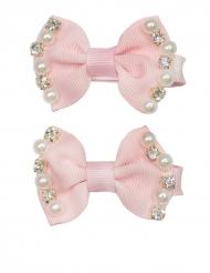 2 Fermagli con fiocco rosa e perle per bambina