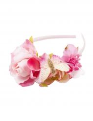 Cerchietto Corona di fiori rosa per bambina