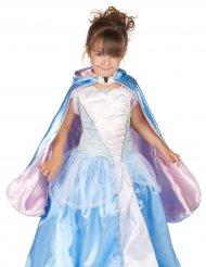 Mantello reversibile azzurro e rosa da principessa per bambina