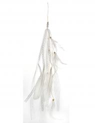 Decorazione da appendere con piume bianche 35 cm
