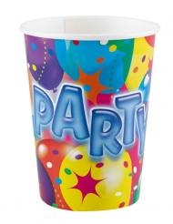 8 bicchieri di carta Party multicolor