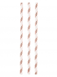 12 cannucce in cartone bianche e color rame 19 cm