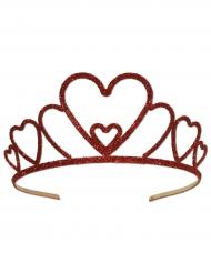 Corona in metallo rosso con brillantini per adulto