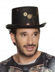 Cappello a cilindro nero Steampunk con ingranaggi