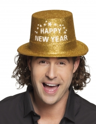 Cappello a cilindro dorato Happy new Year adulto