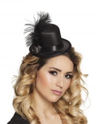 Mini cappello glamour nero a piume adulto
