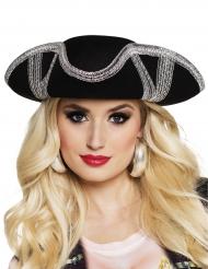 Cappello da pirata nero e argento per adulto
