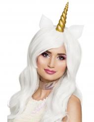 Parrucca lunga bianca da unicorno per donna