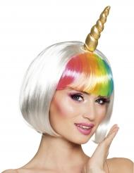 Parrucca corta da unicorno bianco per donna