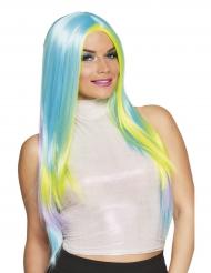 Parrucca lunga multicolor pastello adulto