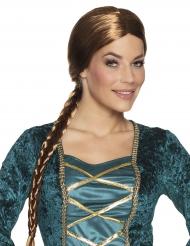 Parrucca castana medievale con trecce per donna