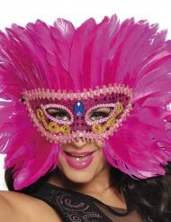 Mascherina veneziana con piume rosa per donna