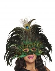 Mascherina veneziana pavone con piume per adulto