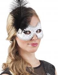 Mascherina veneziana bianca con piuma e strass per donna