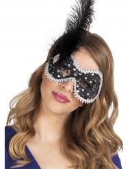 Mascherina veneziana nera con piuma e strass per donna