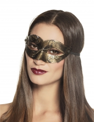 Maschera Steampunk ingranaggi dorati donna