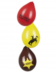 6 Palloncini Western Wild West 25 cm