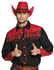 Camicia da Cowboy nero e rosso a frange per adulto