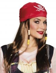Parrucca e bandana rossa da pirata per donna