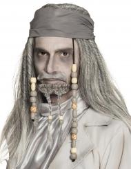 Parrucca con bandana grigia da pirata per adulto
