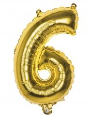 Pallone alluminio cifra 6 dorato 36 cm