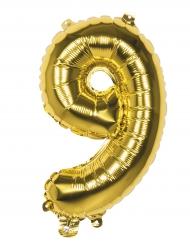 Palloncino in alluminio Numero 9 dorato 36 cm